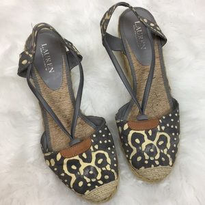 Lauren Ralph Lauren Gray & Yellow Espadrille Shoes